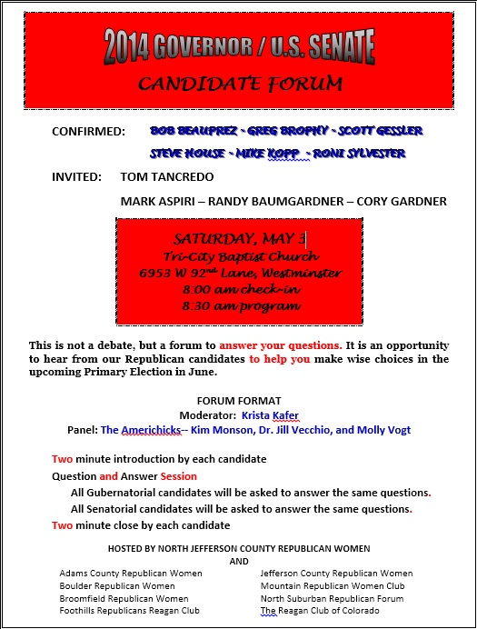 North Jeffco Women Candidate Forum May 3, 2014