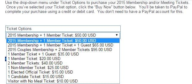 Reagan Club ticket prices