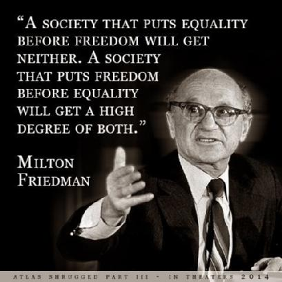 Milton Friedman quote about freedom & equality